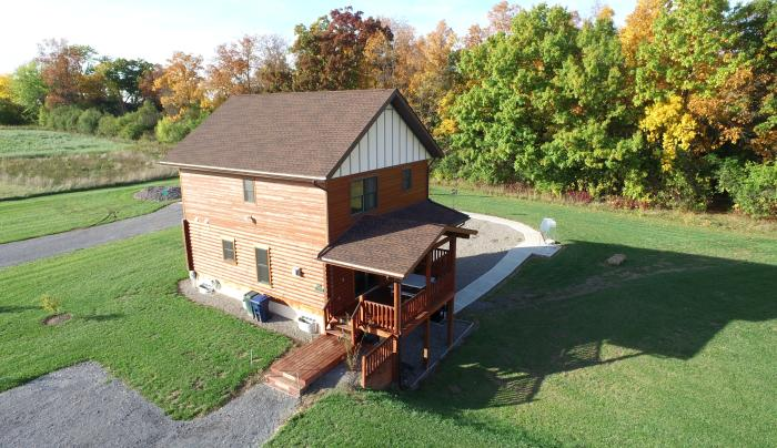 Aerial view of the Canandaigua cabin rented by cobtree vacation rental homes