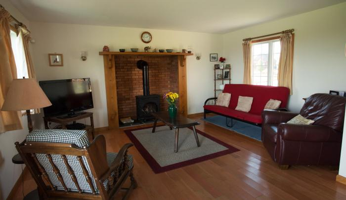 The living room inside of the Cayuga Cottage