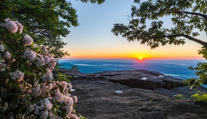 Sunrise at Artist Rock, North-South Lake Campground , Haines Falls, NY, Greene County, Catskill Regi