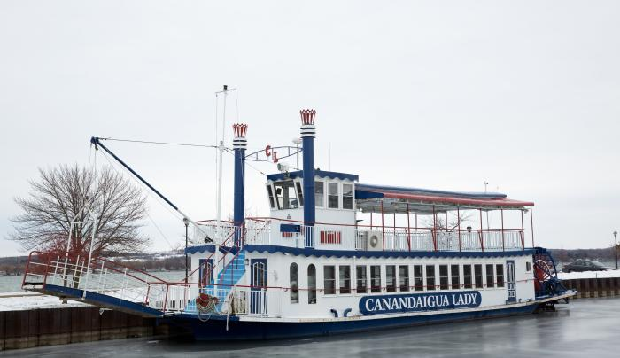 Exterior of the Canandaigua Lady during the Wintertime