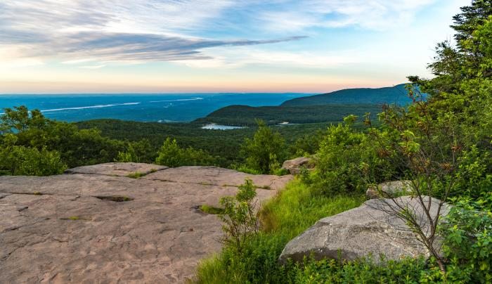 View from North Point along blue escarpment trail at North South Lake Campgrounds, Haines Falls, NY,
