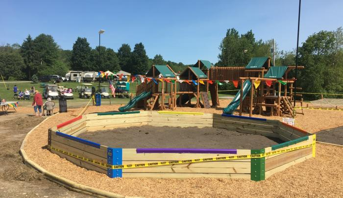 Gaga ball pit at new playground