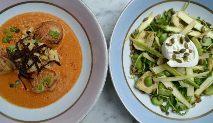 Scallops and Ladurée Salad