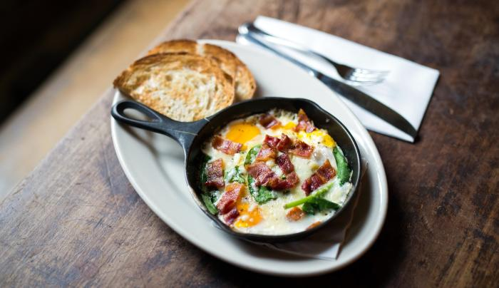 Skillet and eggs