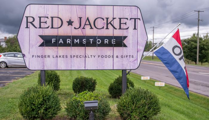 Exterior sign for Red Jacket Orchards in Geneva
