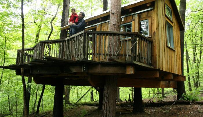 Outside view of the Gell Center treehouse