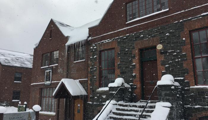 The Saranac Laboratory Museum in Snow
