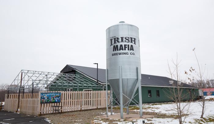 Exterior of Irish Mafia Brewing Company during the wintertime