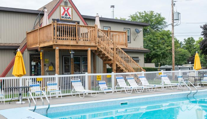 Exterior of  the pool at the KOA Campground in Canandaigua