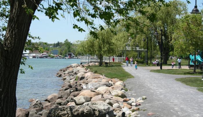 The walking path along Canandaigua Lake at Kershaw Park