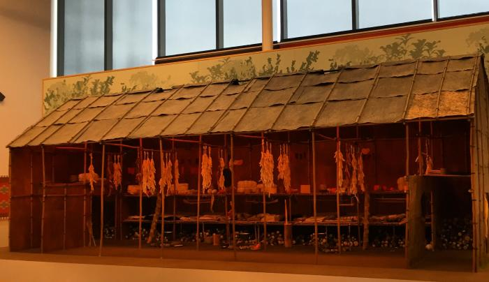 Scale model of the Bark Longhouse