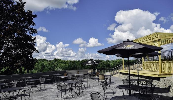 Exterior patio at the Finger Lakes Hotel in Farmington