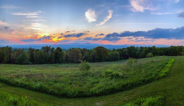Sunset view of Catskills from Mohonk Preserve, Ulster County, Hudson Valley Region