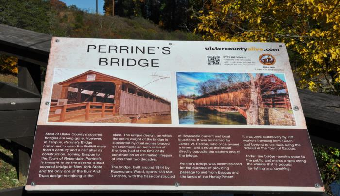 Perrine's Covered Bridge sign