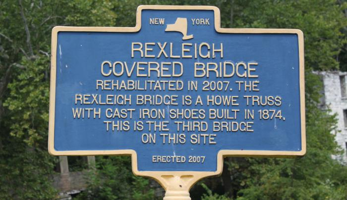 Rexleigh Covered Bridge sign