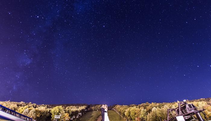 Couple under the night sky