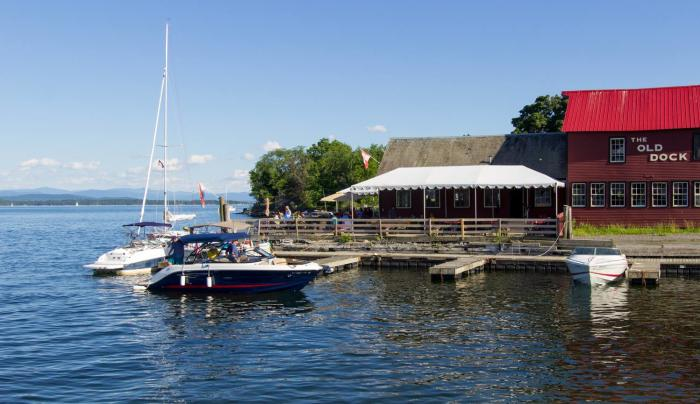 The Old Dock is on the shores of Lake Champlain.