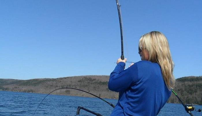 Otsego Bounty, Woman Fishing on Boat