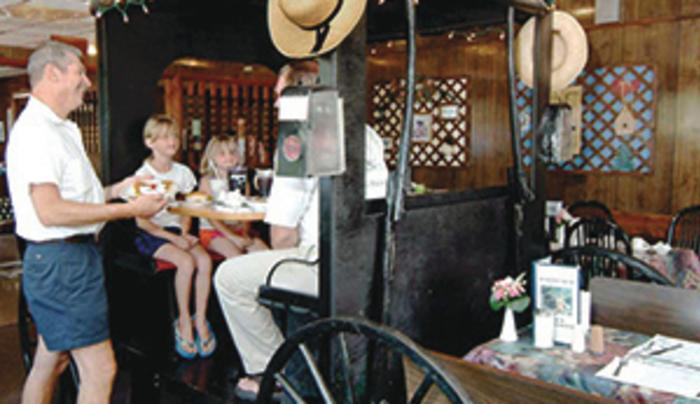 Dining in the Amish buggy at R & M Restaurant