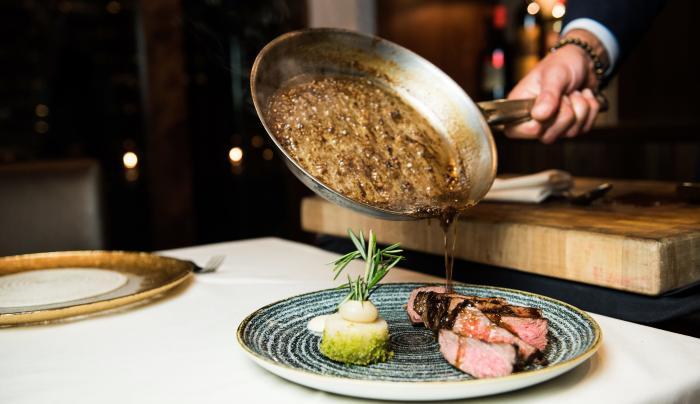 table, steak