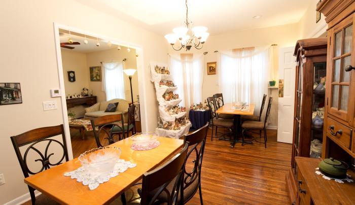Interior of the dining area at The Rose Petal Inn in Geneva