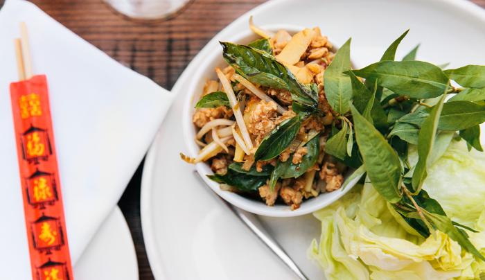 Chicken San Choi Bau Lettuce Wraps, Bean Sprouts, Water Chestnuts, Cilantro