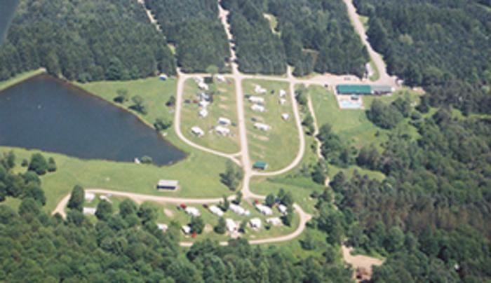 aerial view of Shamrock Pines Campground