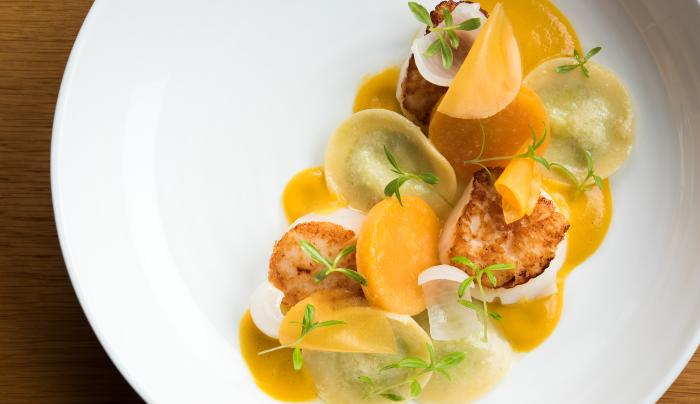 Bar Room Scallop with Pumpkin & Tarragon Ravioli - Photo Credit: Evan Sung