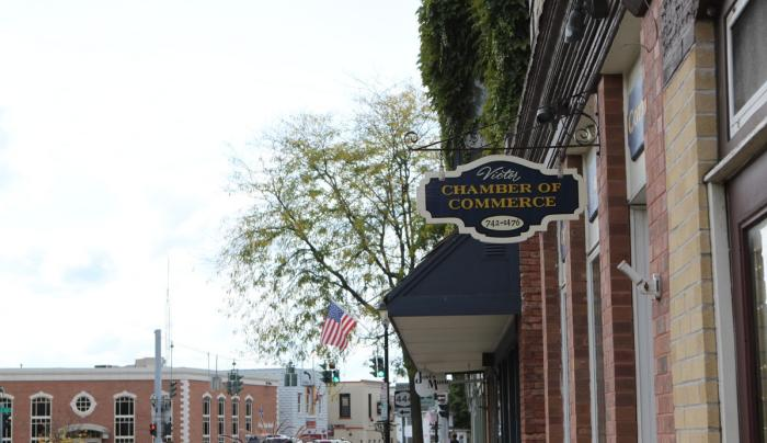 Sign over the entrance to the Victor Chamber of Commerce