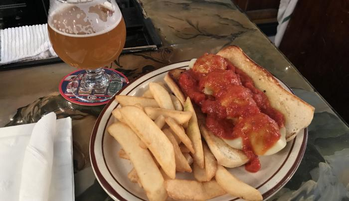 A meatball sub on a plate at the Beef and Brew in Geneva