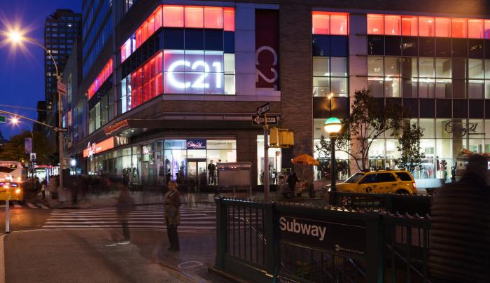 Exterior of Century 21 Upper West Side near Lincoln Center at dusk