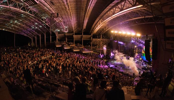 Photo overlooking a Crowd dancing to Ellie Goulding in the CMAC Center in Canandaigua