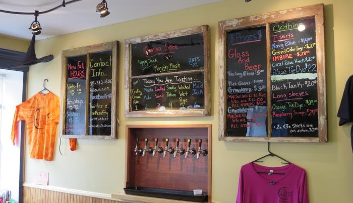 The chalkboards inside of Crafty Ales and Lager in Phelps