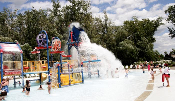 A dunk bucket splashes down at Roseland Waterpark in Canandaigua