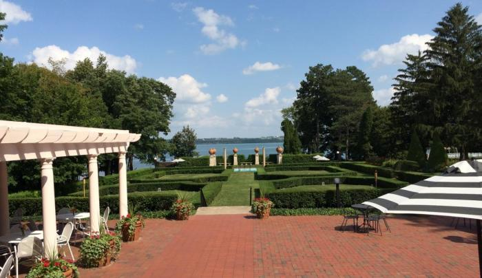 Photo of the view from the porch overlooking Seneca lake at Geneva on the Lake