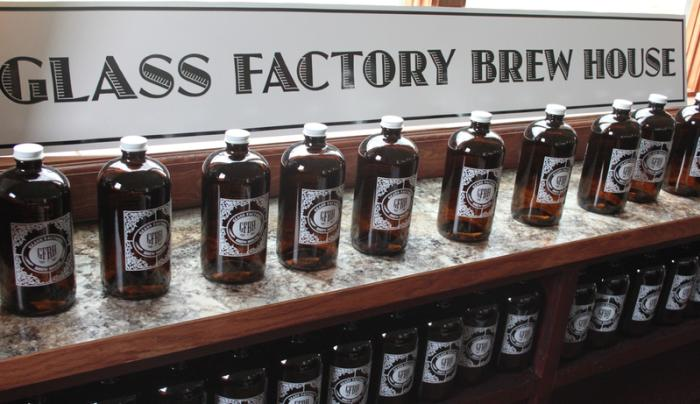 Bottles of beer sitting on the shelf at the Glass Factory Brew House in Geneva
