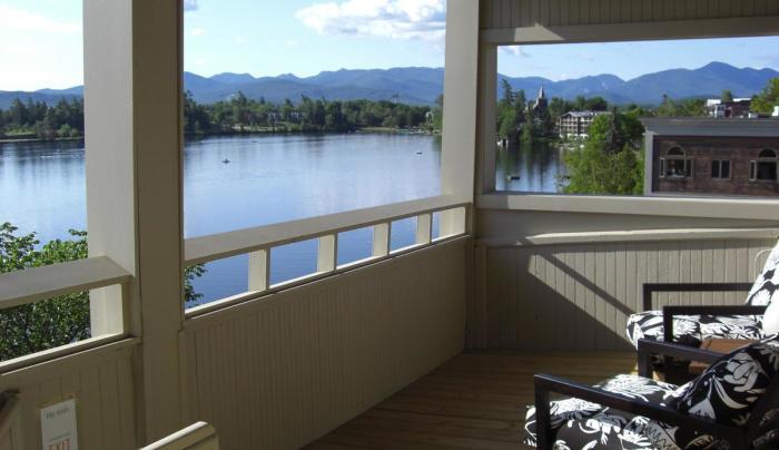 The Haus Lake Placid overlooks Mirror Lake.