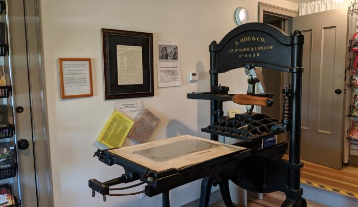 Photo of the printing press at Hiram Edson Farm