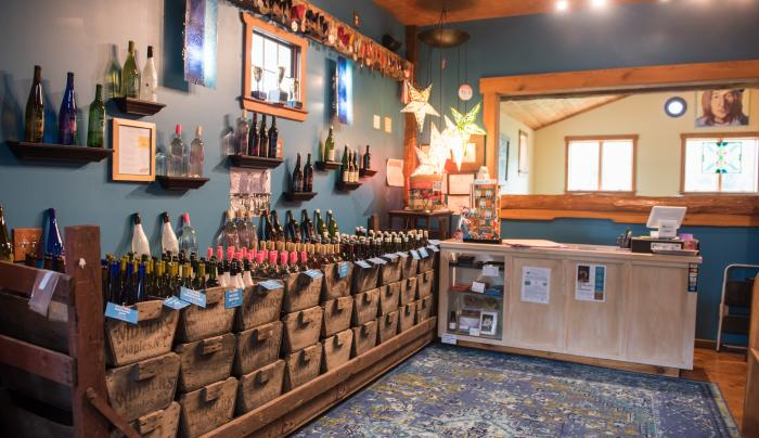 Inside of Inspire Moore Winery's Tasting and Viewing room