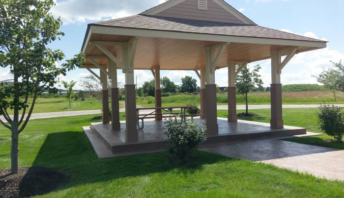 Exterior of a pavillion at Lehigh Crossing Park