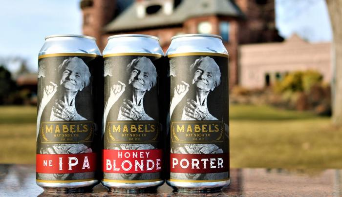 Close up of Mabel Craft Beer cans