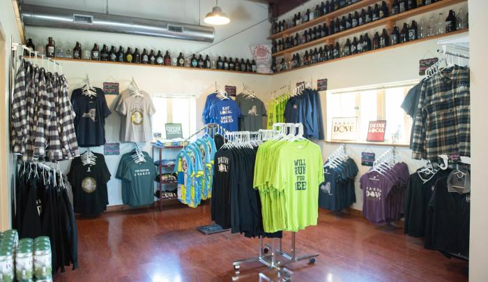 Inside of Naked Dove brewing companies gift shop