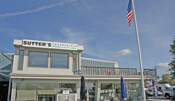 Exterior of Sutters Marina in Canandaigua