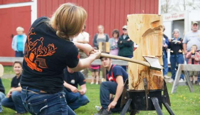 Lumberjack skills are featured at the Woodsmen's Festival in October.
