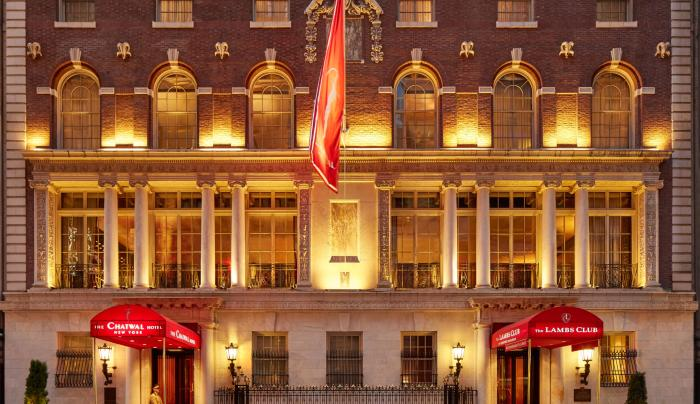 Exterior of The Chatwal New York at night