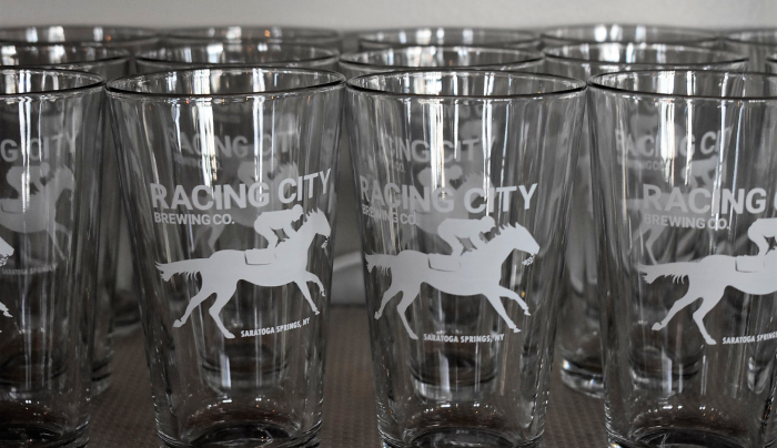 Racing City Brewing Empty Beer Glasses