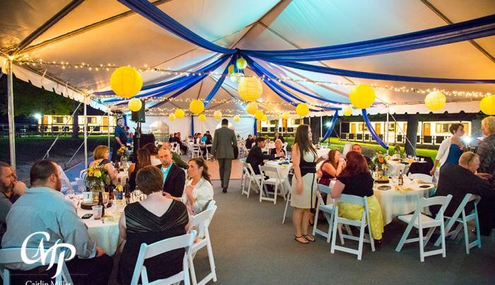 Wedding Reception Under Banquet Tent in Courtyard