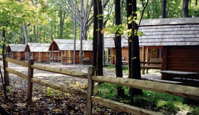 Cabins set amidst a wooded setting
