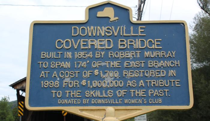 Downsville Covered Bridge sign