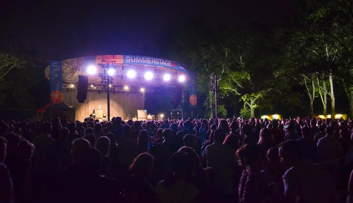 SummerStage in Central Park after-dark, photo courtesy of Jeanina Casusi